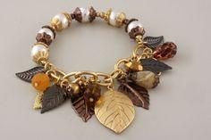Fallen Leaves Chain & Pearl Gold Tones Stretch Bracelet