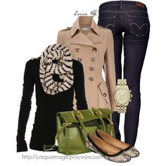 """""""Fall Outfit #2"""" by uniqueimage on Polyvore. I love the green bag!"""