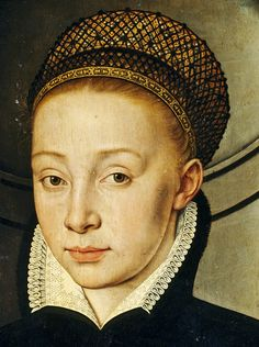 Portrait of a Lady and Child, 1567. Detail of hairnet.