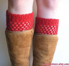 Crochet Red Wool Boot Cuffs ready to ship. by luvbuzz on Etsy, $20.00  #crochet #wool #bootcuffs #red #crimson #backtoschool #fashionaccessories #fallfashion #winterfashion #handmadegifts #etsy #luvbuzz