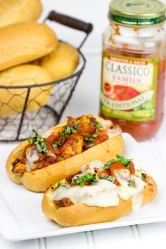 This Grilled Chicken Parm Sandwich is covered with pasta sauce and melted cheese to create a lighter version of a classic sandwich! #shop #client #FamilyFavorites