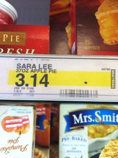 Pie costs $3.14 at Target. Well played. Repin if you understand the significance.