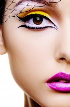 dramatic makeup, colorful makeup, eye makeup, cat eyes, pink and white eyeshadow, makeup lips, makeup art, pink lips, black and white eyeliner