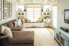 wall colors, interior design, window benches, living rooms, family rooms, hous, benjamin moore, live room, window seats