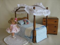 Vintage 50s Doll Furniture   Hall's Canopy Bed For 8 by TheToyBox, $85.00