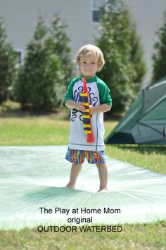 Outdoor waterbed!  This summer I am going to try this with Gav, Ell, and the daycare kids!