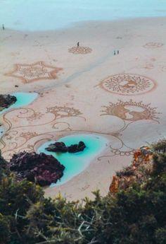 . sands, andr amador, beaches, drawings, sand art, sandart, design, crop circles, mandala