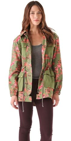 flower camo utility pocket coat. great color mix! #outerwear #jacket