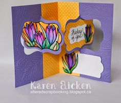 Karen Aicken using the Pop it Ups Katie Label Pivot Card by Karen Burniston for Elizabeth Craft Designs. Also uses ECD Peel-off stickers and embossing folder. Altered Scrapbooking: Crocus Pivot Card
