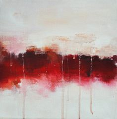 "Original abstract painting, square 10""x10"" modern art, Red Border"