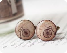bicycles, men cufflink, cuff link, gift ideas, accessori, awesom cufflink, cufflinks, bicycl cufflink, handmade gifts