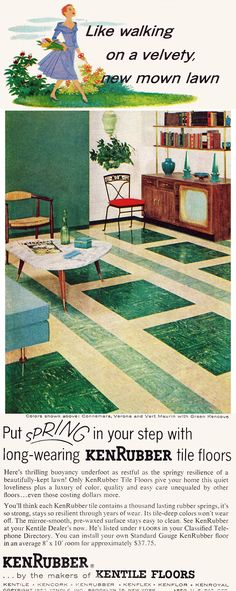 """""""spring in your step"""" KenRubber, Kentile Floors, 1956"""