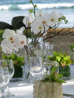 orchid centerpiece with floating candles
