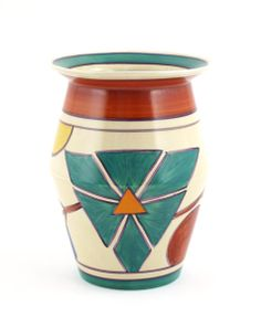 'Triangle Flower' a Clarice Cliff Fantasque Bizarre 342 vase, painted in colours between red and green bands printed factory marks, 19cm. hi...