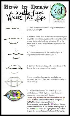 5 steps to drawing lovely lips! An easy to follow How to Draw Lips tutorial infographic for you.-- If you have tutorial requests don't be shy! Comment on the pin with your request and tag me, @katcanpaint so I can add them to my list. @katcanpaint via www.katcanpaint.com