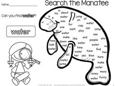 Free Manatee Sight Word Hunt!! Free Ocean Printables - The Ocean for Kinder Kids FREEBIE contains a Find the Sight Word Manatee Activity, a Scrambled Ocean Sentence Activity, an Under the Sea Adding Activity, and 8 illustrated OCEAN Word Wall cards.