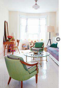 green chairs, round coffee table,dollshouse,desk