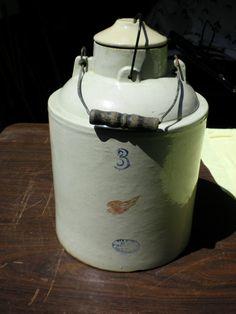 Red Wing Stoneware # 3 Ball Lock Canning Crock Jar Self Sealing 1930s