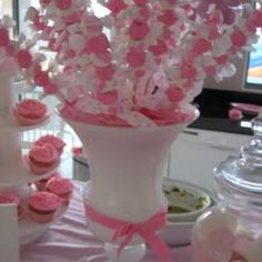 Salt Water Taffy Centerpiece! How cute for a baby shower or kids' birthday party!!!