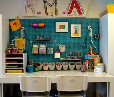 art space, peg board, art studio, kid art, art center, craft room, craft area, glitter hous, kid craft