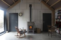 Rural Office for Architecture, New Barn, wood stove, Wales   Remodelista