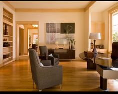 light hardwood floors & creamy white walls