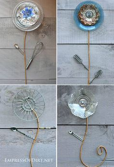 DIY Kitchen Utensil Garden Art Flowers