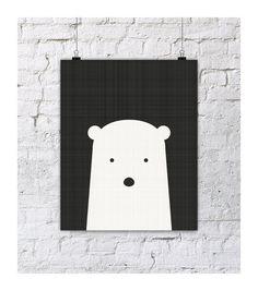 Polar bear nursery giclee print Black and by LittleIvysPlayhouse, $18.00