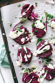 Beet and Cumin Fritters from Peace & Parsnips | Savory vegan and gluten-free beetroot fritters are topped with a tangy horseradish and dill yogurt sauce.