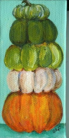 Stack o' Pumpkins mini painting 2 x 4 Fall by SharonFosterArt