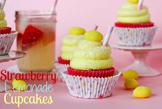 Strawberry Lemonade Cupcakes from Confessions of a Cookbook Queen#Repin By:Pinterest++ for iPad#