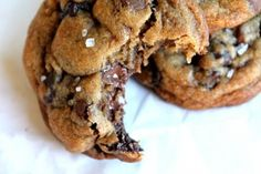 Nutella stuffed sea salt chocolate chip cookies.