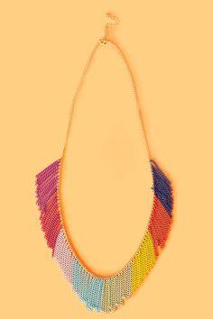 Rainbow Fringe Necklace