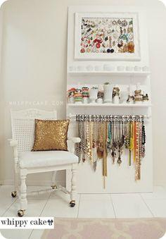 diy house decorations, jewelry storage, decorating blogs, closet room diy, blog decor, house decor diy, curtain rods diy, jewelry organization, jewelri organ