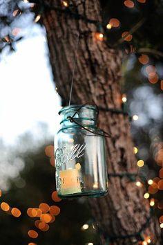 ball jar lanterns and cafe lights