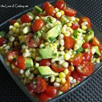 Grilled Corn, Avocado and Tomato Salad with Honey Lime Dressing by fortheloveofcooking-recipes.blogspot.com