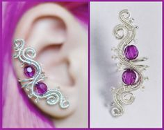Purple EAR CUFF with czech glass crystals, perfect for gift, silver wire