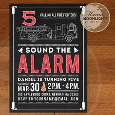 Fire Truck Invitation Chalkboard Style Custom by MamaMoonlights, $15.00