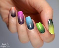 Neon holo jelly skittle over black to white gradient - Beyond the Nail - by simplynailogical