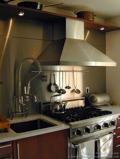 #Kitchen Idea of the Day: Photo by Brooks Custom. Stainless steel backsplash and hood. kitchen design, kitchen ideas