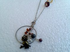 Tan brown Optical lens necklace Woodland OWL by KikisCollections, $30.00