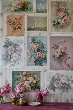 Floral pictures...love them pinned to the wallpaper