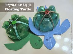 What a cool idea - recycled soda bottle floating turtles!