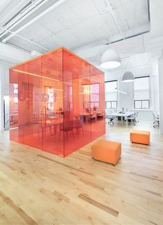red boxed meeting room