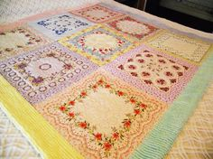 Vintage Hankies and Chenille Quilt by Grannies Hankies