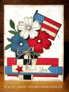 "Say ""thank you"" to your favorite military friend or family member with this cute handmade card.  The flower pot has been woven with black and white strips, and a flag has been tucked in with the red, white and blue flowers"