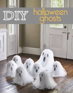 DIY Halloween White Ghosts on http://pizzazzerie.com