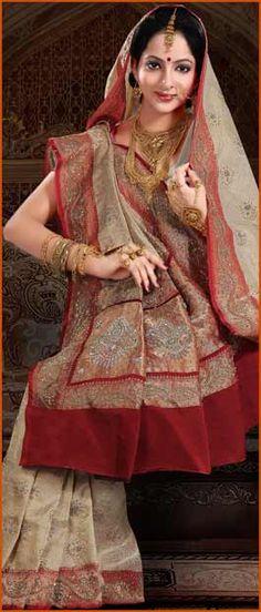 #Cream and #Maroon Pure #Banarasi Satin #Silk #Saree with #Blouse @ $635.60 | Shop Here: http://www.utsavfashion.com/store/sarees-large.aspx?icode=snn1a