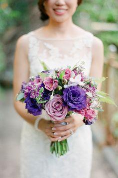Purple rose, lisianthus, and lavender bouquet | @janamorganphoto | Brides.com