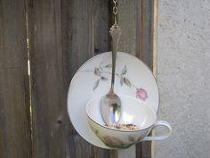 Tea Cup Bird Feeder No9 by Studio5oceanO on Etsy, $18.00